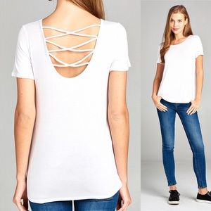 Active USA Tops - ⭐️3/$25 S,M,L Cross Back Strap Knit Top White